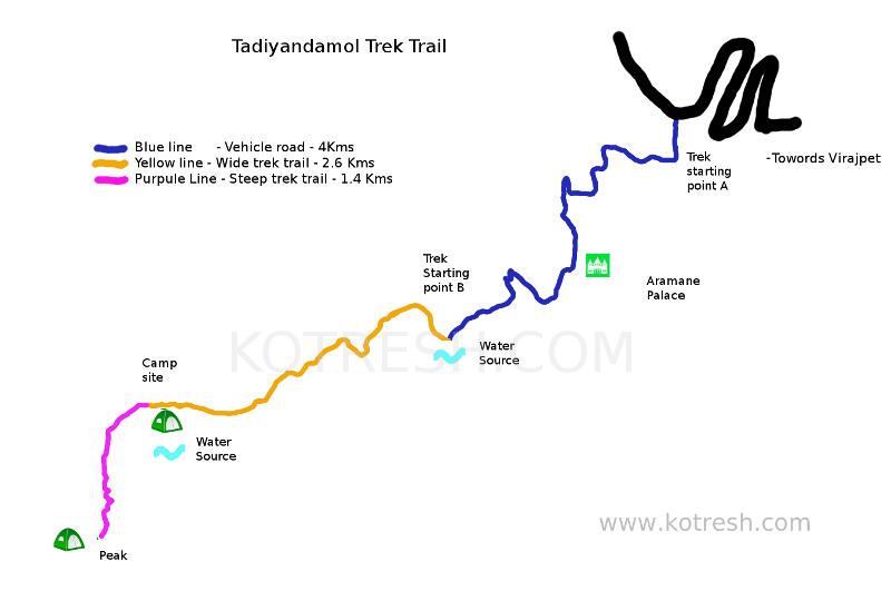 Thadiyandamol trek map