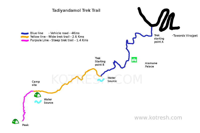 Thadiyandamol trek map